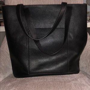 Zara large shoulder vegan black leather tote bag